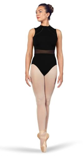 BLOCH Ladies Dance High Neckline Open Back Leotard Mesh Waist Solene L4932 Black